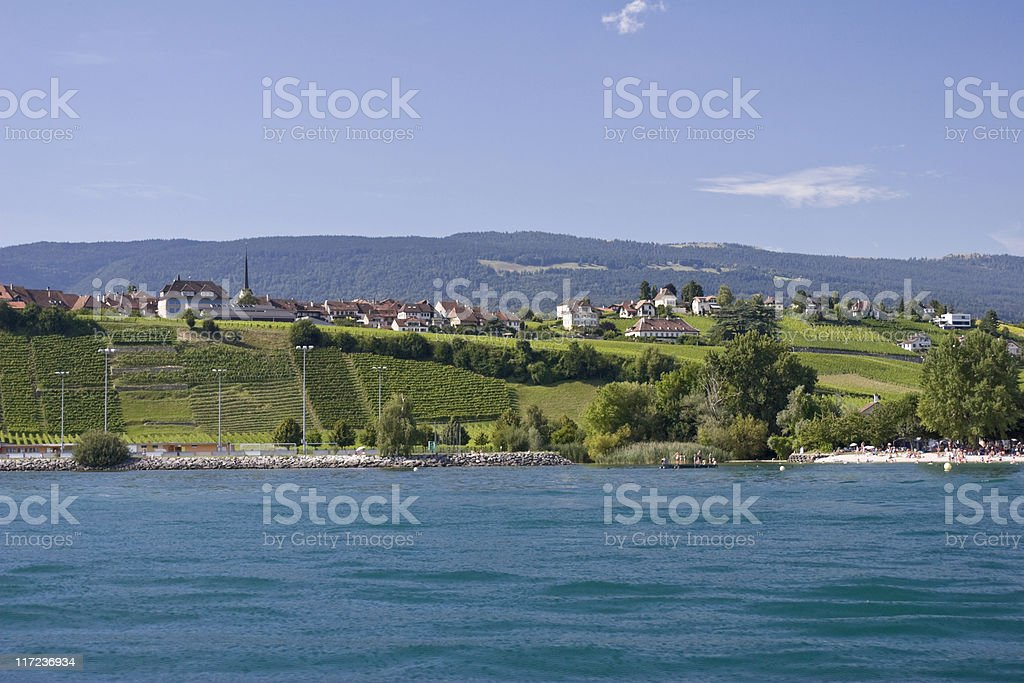 Summer Scene on Lake Neuchatel with Vineyards and Beach stock photo