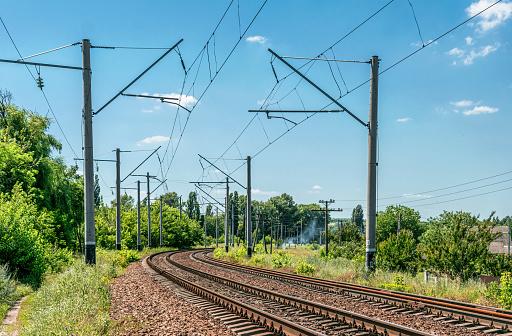 Summer Seasonal Rural Landscape and Suburban Railway