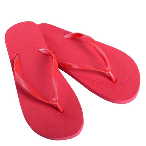Verano zapatos ojotas goma rojo - foto de stock