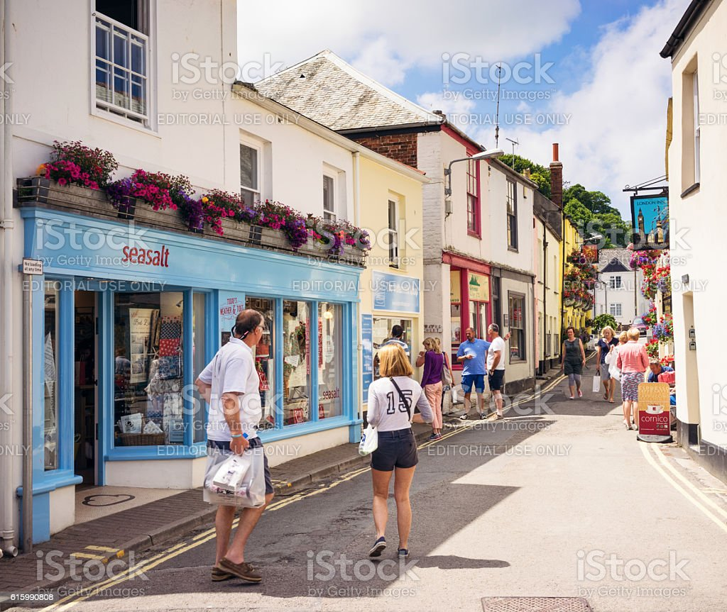 Summer shopping in Padstow stock photo