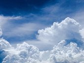 Bright blue summer skies with dramatic billowing white clouds
