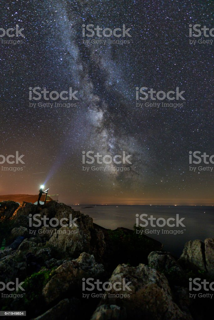 Summer sky gazing stock photo