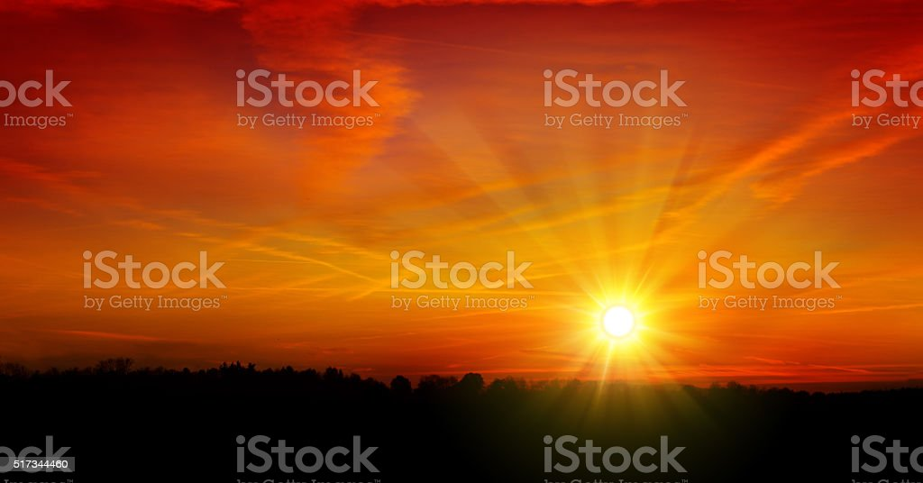 Summer sky sunset. stock photo