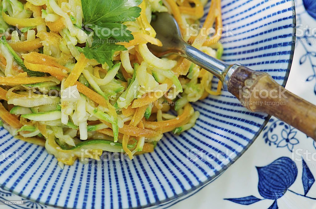Summer Slaw Salad of Grated Squash and Carrots from Above stock photo