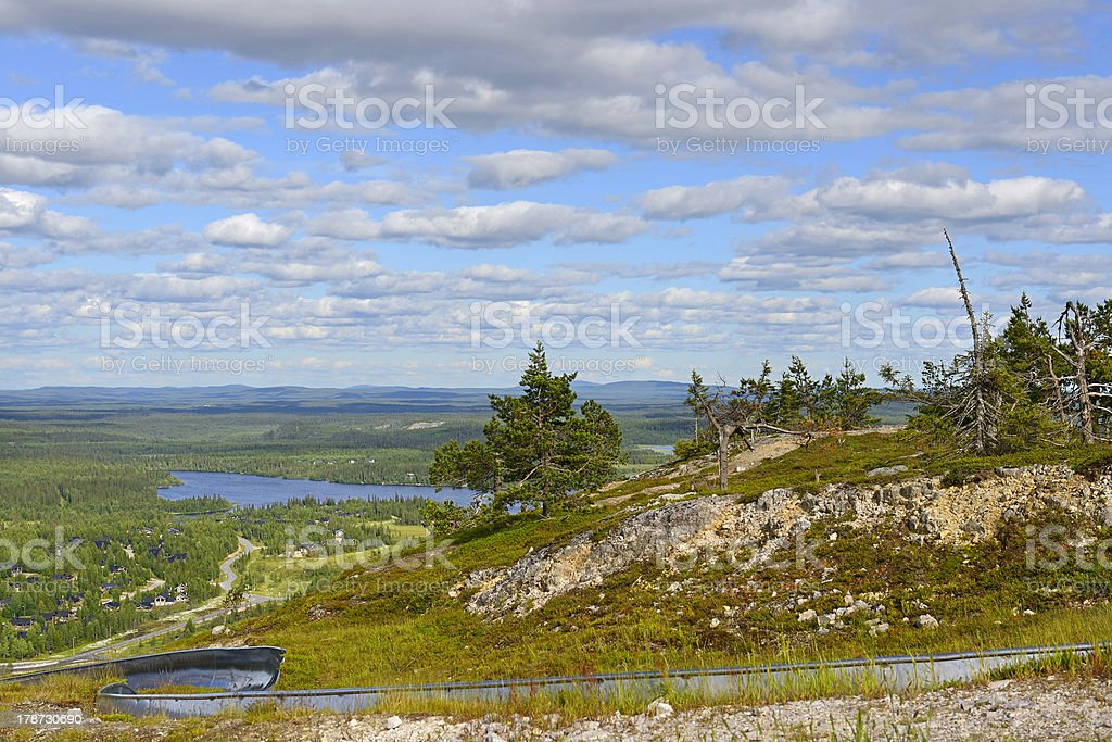 Summer Sled Tratsk on top of mountain stock photo