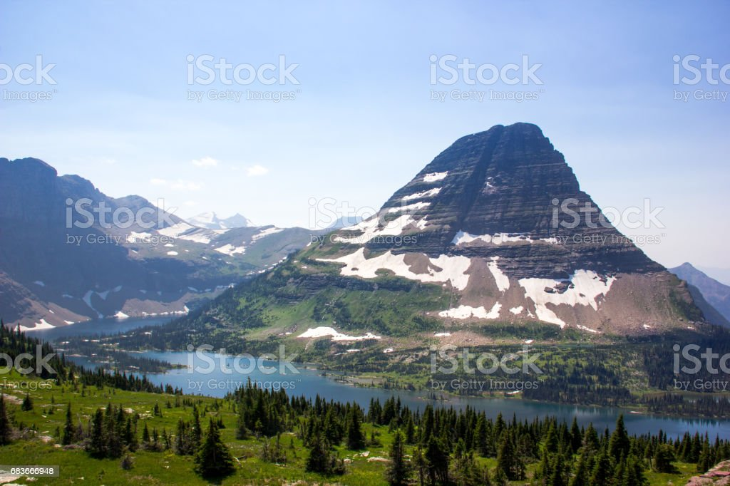 Summer snow in the mountain stock photo