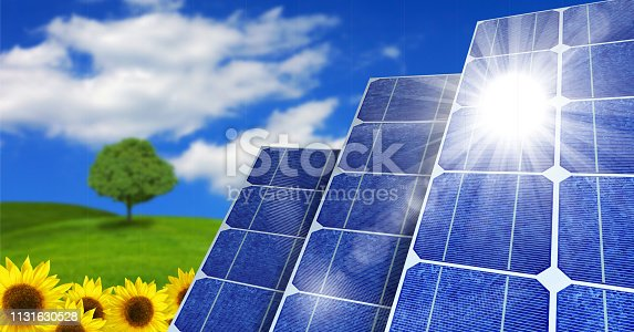Solar Panels with Sun Shining on them