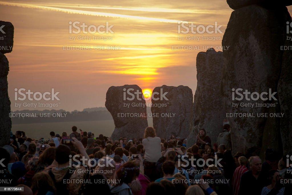 Yaz Gündönümü Stonehenge İngiltere stok fotoğrafı