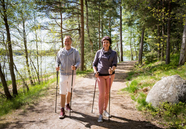 Summer sport in Finland - nordic walking stock photo