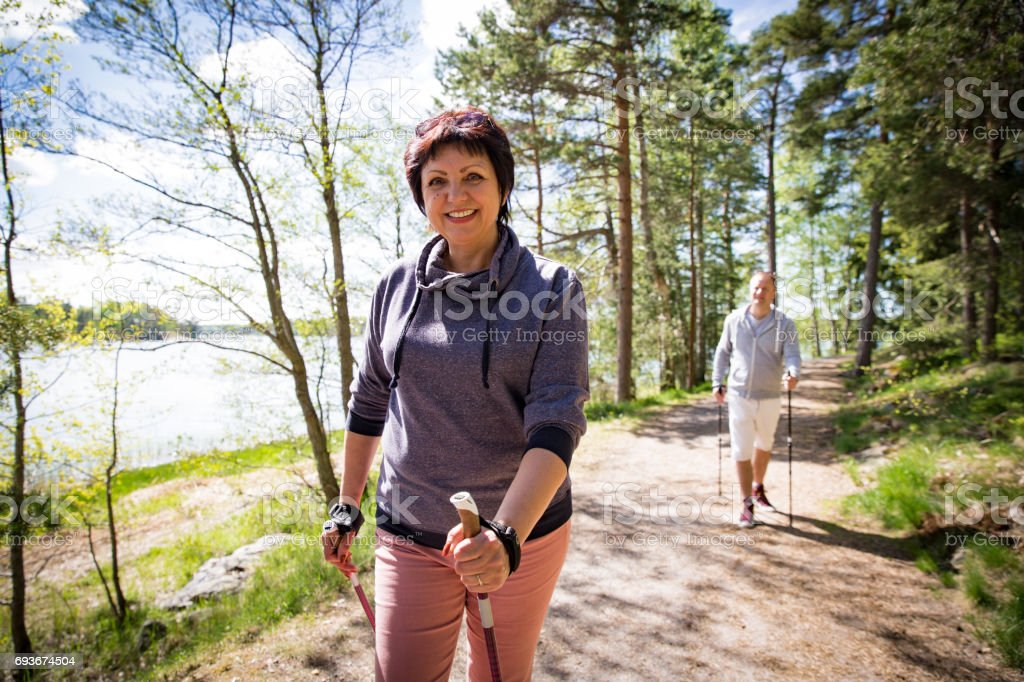Summer sport in Finland - nordic walking stock photo