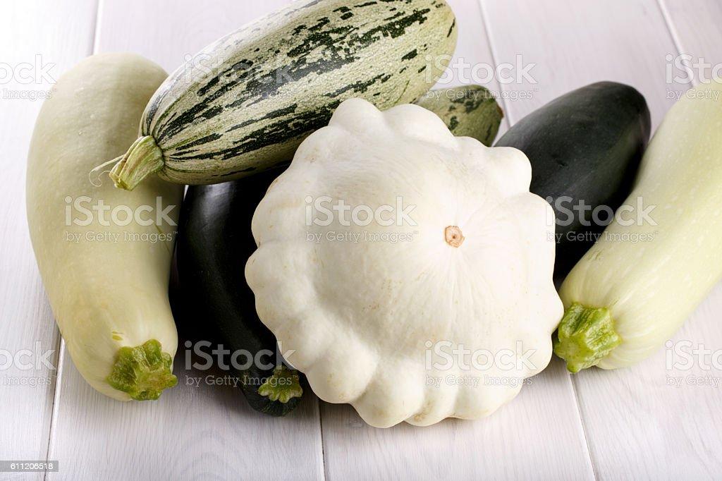 Summer squash zucchini patisson. stock photo