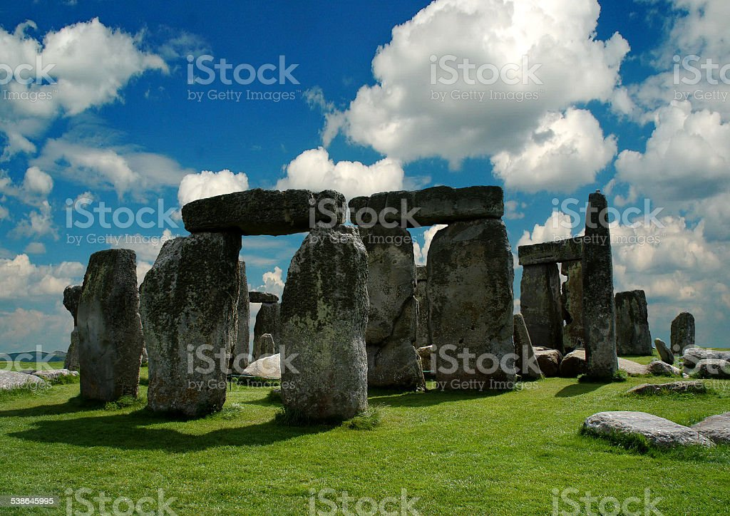 Summer Stonehenge in the background of a cloudy sky. stock photo