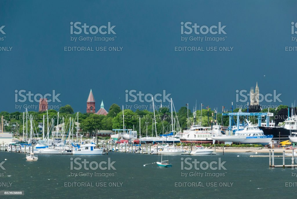 Summer storm building stock photo