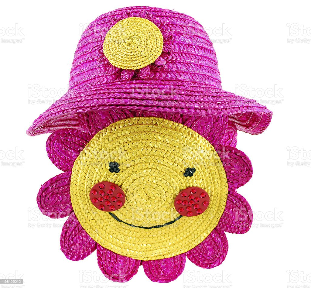 summer straw hat and bag for child royalty-free stock photo