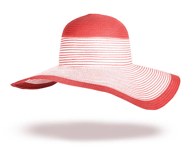 Summer straw hat isolated on white background stock photo