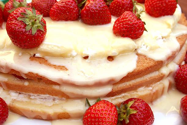 Summer strawberry cake stock photo
