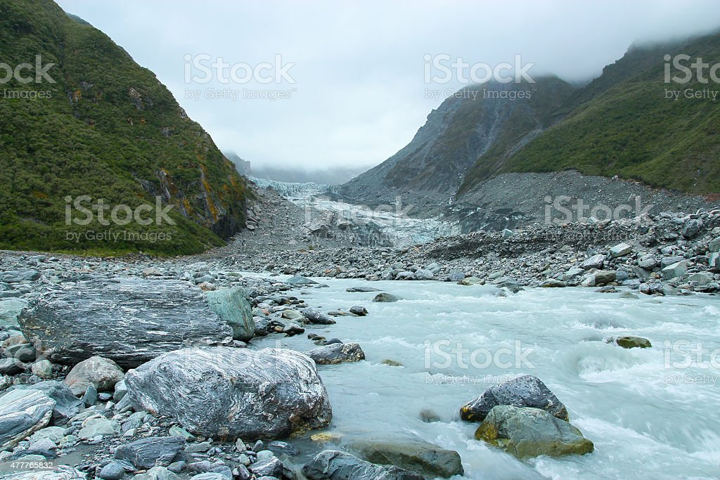 Summer Stream in Fox Glacier Valley, New Zealand stock photo