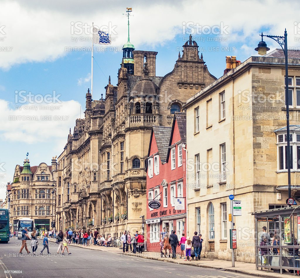 Summer street scene in Oxford, England stock photo