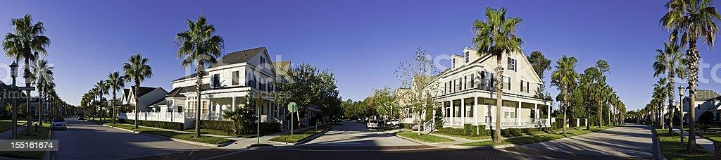 Summer suburbs sunrise Florida luxury homes picturesque town panorama USA stock photo