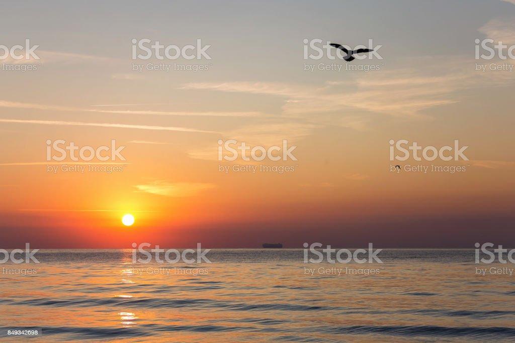 Summer sunrise at Black Sea stock photo