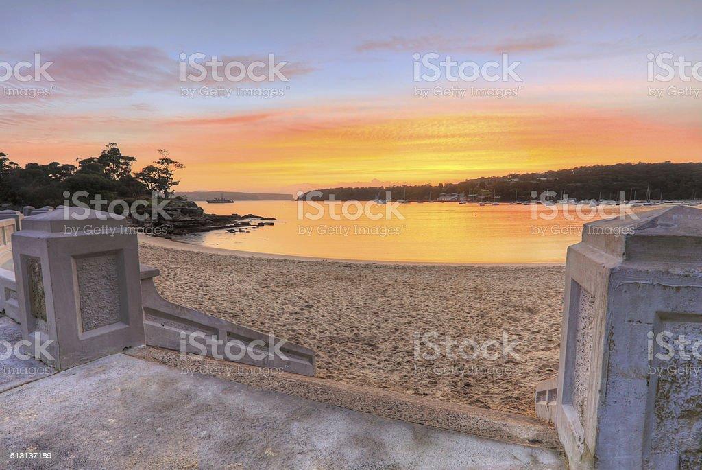 Summer sunrise Balmoral Beach stock photo