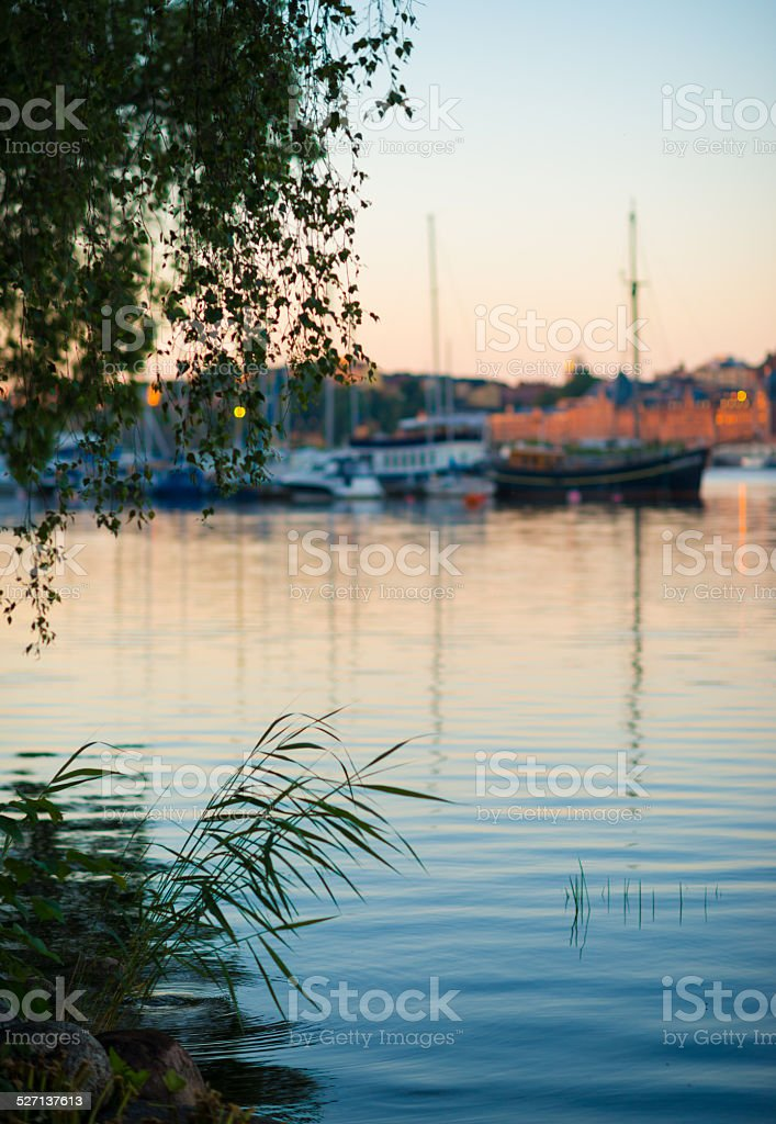 Summer Sunrise in Calm Stockholm Harbour stock photo