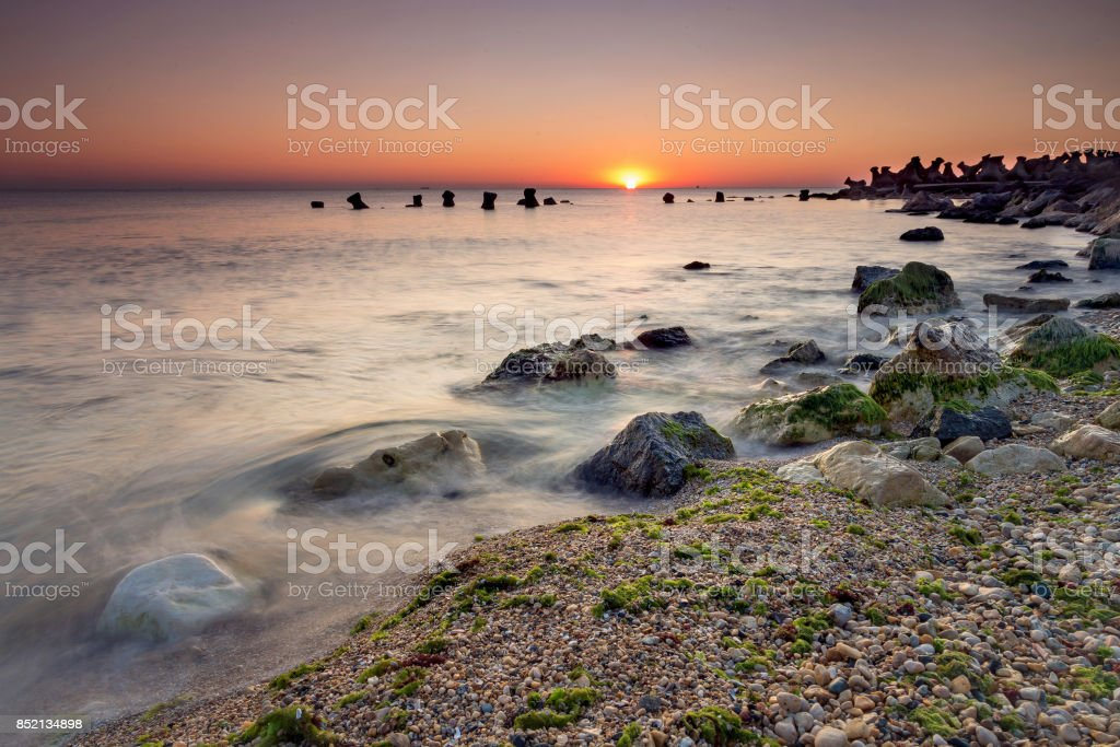 Summer sunrise seascape stock photo