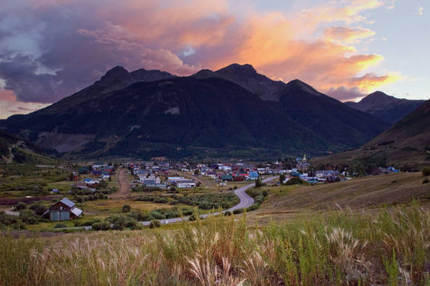Summer Sunset and clouds over Silverton, Colorado stock photo