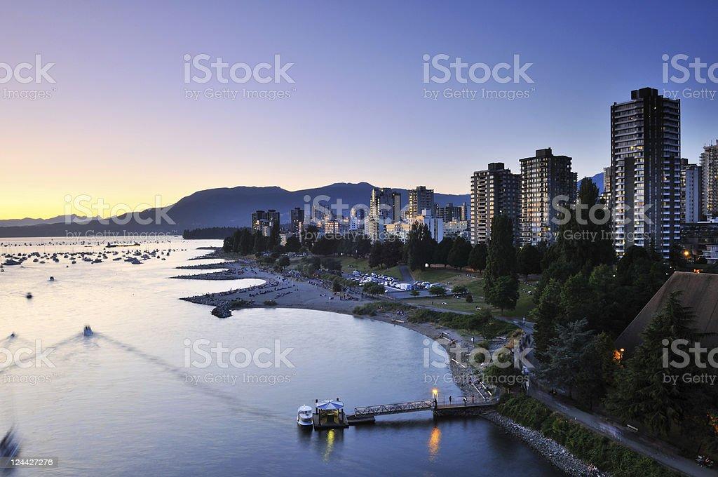 Summer sunset at English Bay stock photo