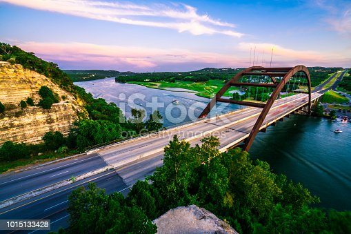 501329818istockphoto Summer Sunset Colorful Sky Over Austin , Texas at Pennybacker Bridge 1015133428