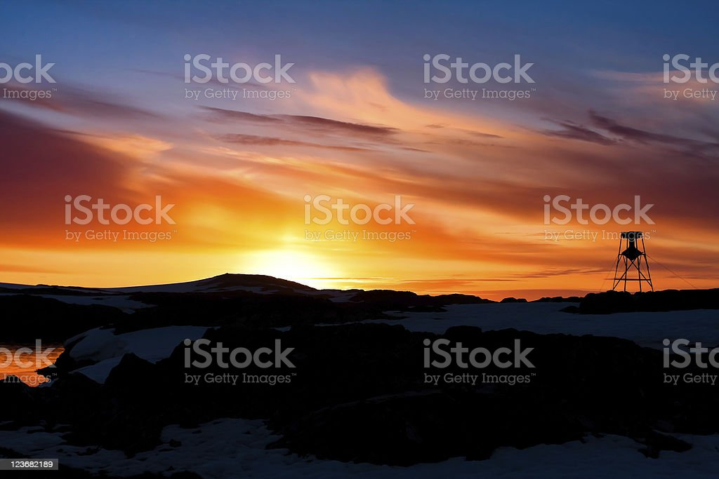 Summer  sunset in Antarctica royalty-free stock photo
