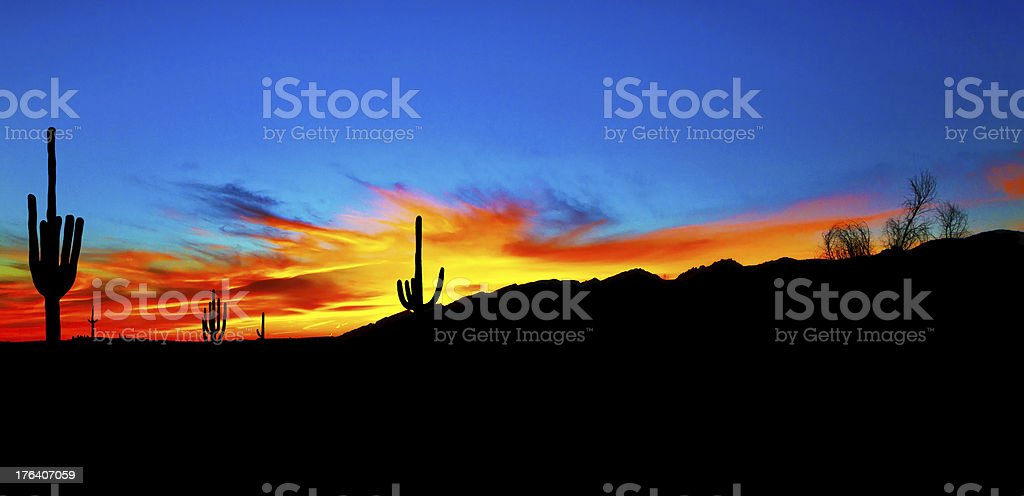 Summer Sunset in Arizona stock photo