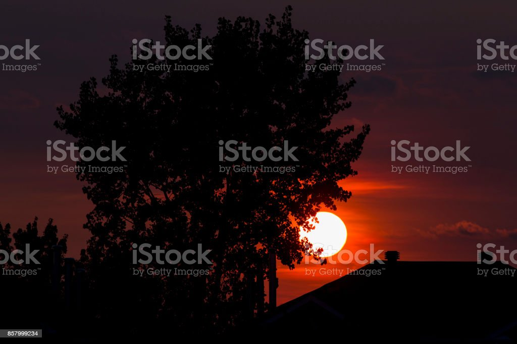 summer sunset in quebec stock photo