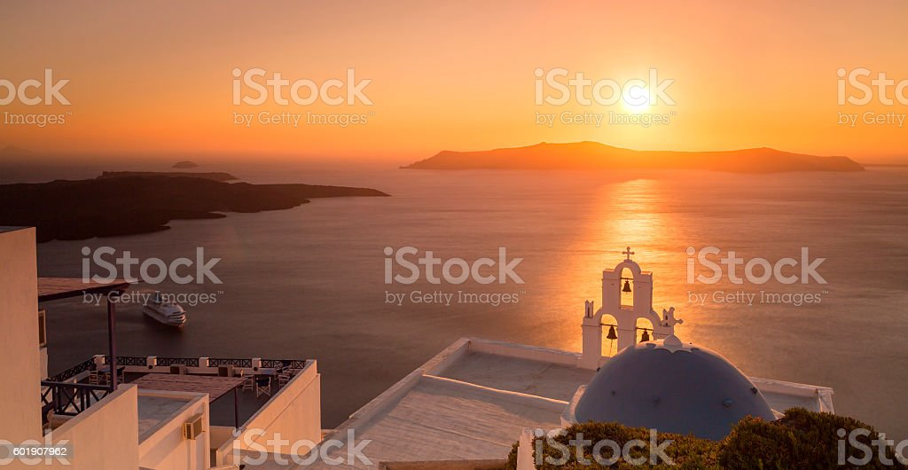 Summer sunset in Santorini island in Greece stock photo