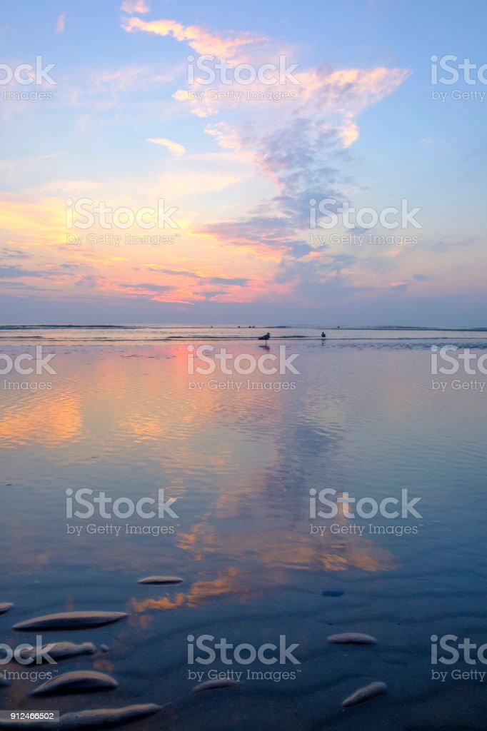 Summer sunset in the dunes at the North Sea Beach - foto stock