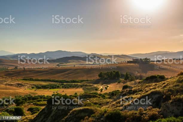 Photo of summer sunset landscape in Val D'Agri, Basilicata