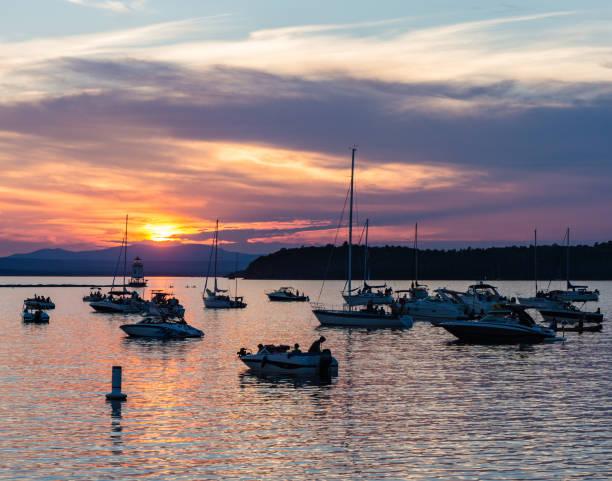 summer sunset on lake stock photo
