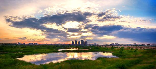 Summer Sunset Over Bucharest City Skyline stock photo