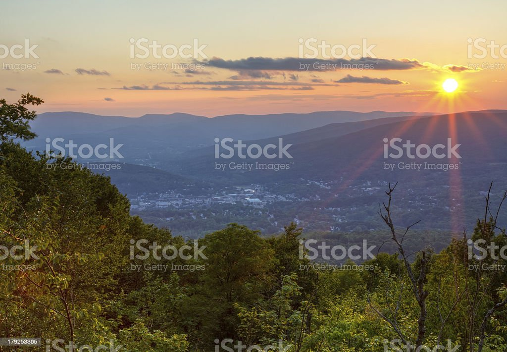 Summer Sunset over North Adams stock photo