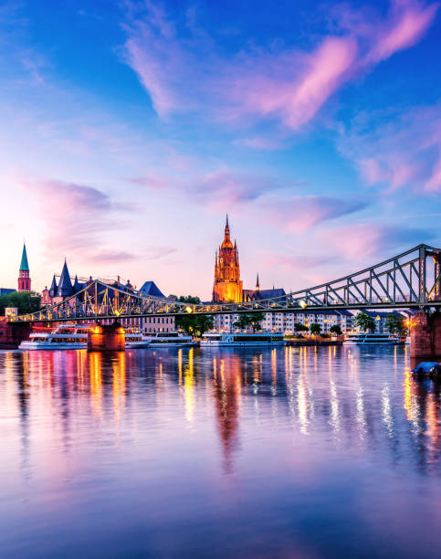 Summer Sunset over the Cathedral (Dom) of Frankfurt am Main stock photo
