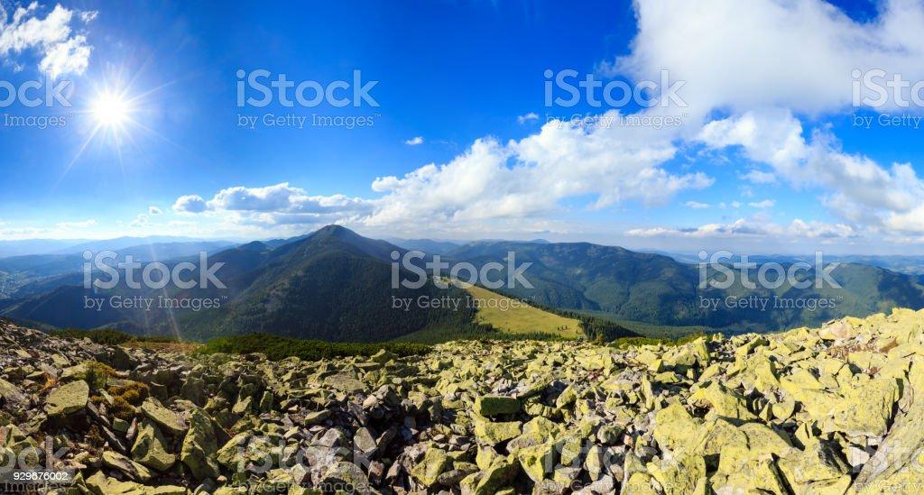 Summer sunshiny Carpathian mountain panorama. stock photo