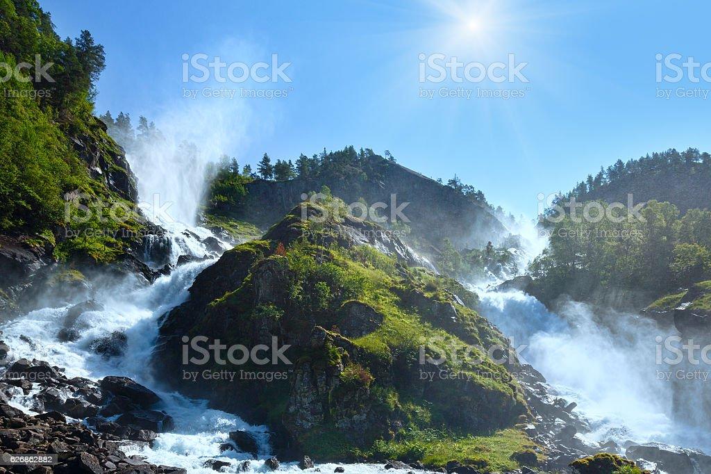 Summer sunshiny Latefossen waterfall, Norway stock photo