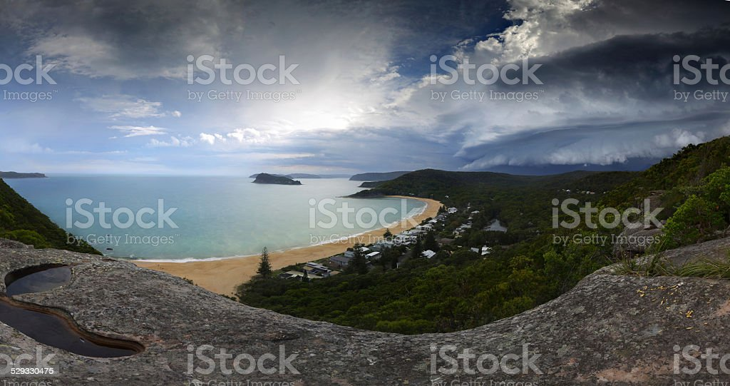 Summer supercell thunderstorm approaching - Weather climate pano stock photo