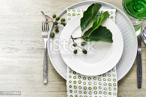 Summer table setting in green tone. Plates, cutlery, napkin and alder branch.