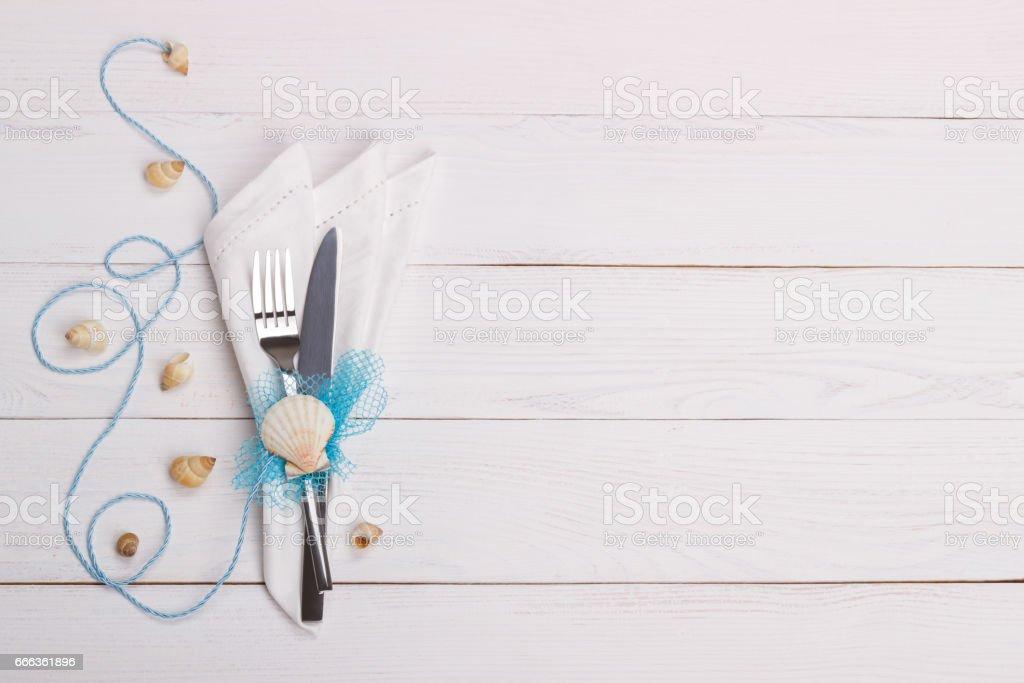 Summer table setting stock photo