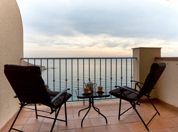 Summer terrace and view to the Mediterranean Sea. Spain – Foto