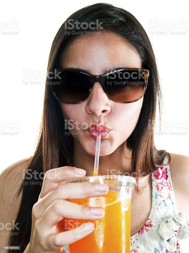 Summer time drinking frozen drink royalty-free stock photo