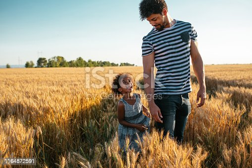 A handsome african american father running with his daughter in the wheat field.