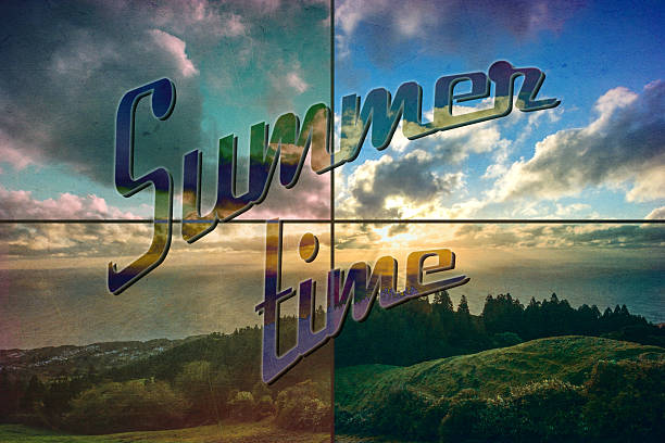 summer time retro postcard stock photo