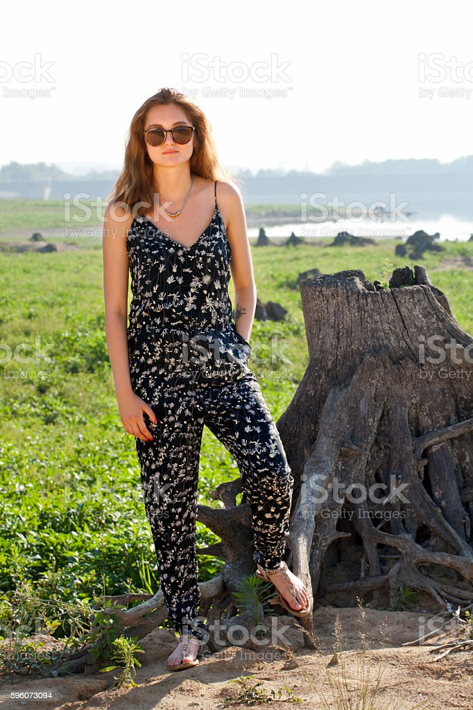 Summer time with beautiful young woman with sunglasses royalty-free stock photo